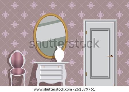 vector interior of pink room - stock vector