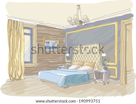 Vector interior of traditional bedroom in yellow and blue colors - stock vector
