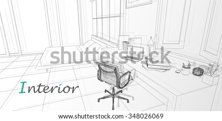 Vector Interior Sketch Design Of Bedroom