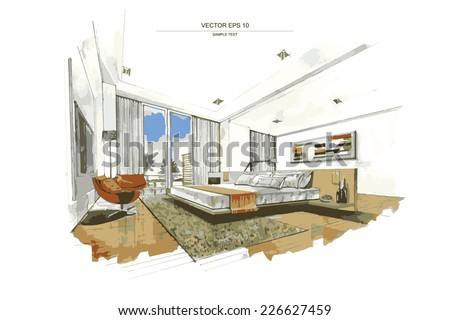 Vector interior sketch design of bedroom. Watercolor sketching idea on white paper background. - stock vector