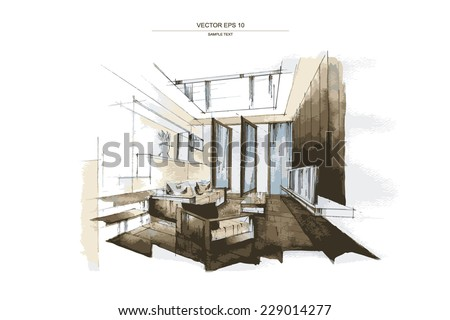 interior design sketches living room. Vector Interior Sketch Design Living Room Stock 229014277 - Shutterstock Sketches V