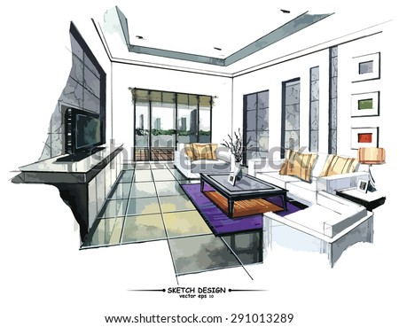 pencil sketch of a room stock photos royalty free images