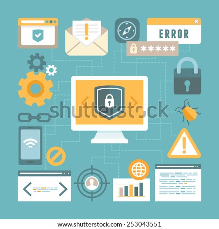Vector internet and information security concept in flat style - infographics design elements and icons - stock vector
