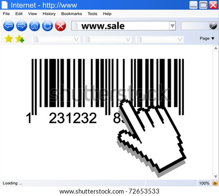 Vector Internet browser and bar-code with computer pointers - stock vector