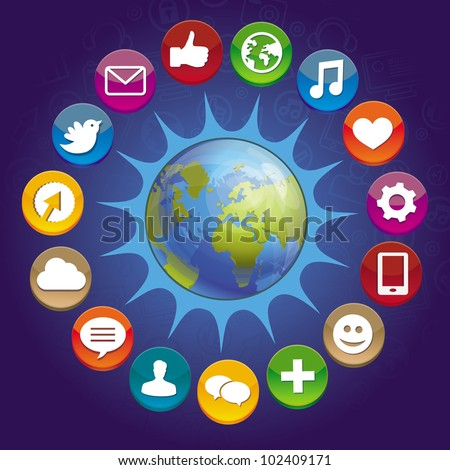vector internet concept - globe with social media icons - stock vector