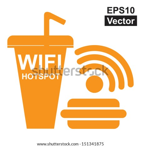 Vector : Internet Hotspot, Internet Cafe or Technology Concept Present By Orange Fastfood Sign With Wifi Hotspot Sign Inside Isolated on White Background - stock vector
