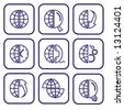 Vector internet icons. Globe set. Simply change. - stock vector
