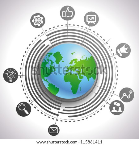 Vector internet marketing concept - abstract background with globe and icons