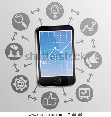 Vector internet marketing concept on mobile phone screen - background with technology icons - stock vector