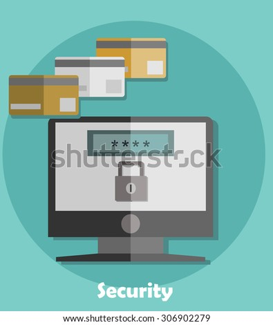 Vector internet payment security concepts and icons in flat style - identification and protection with password Password security window - stock vector
