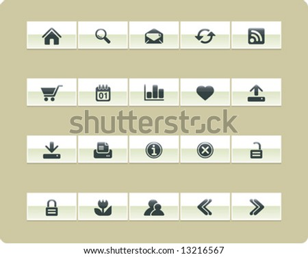 VECTOR Internet & Web icon set | Khaki series - stock vector