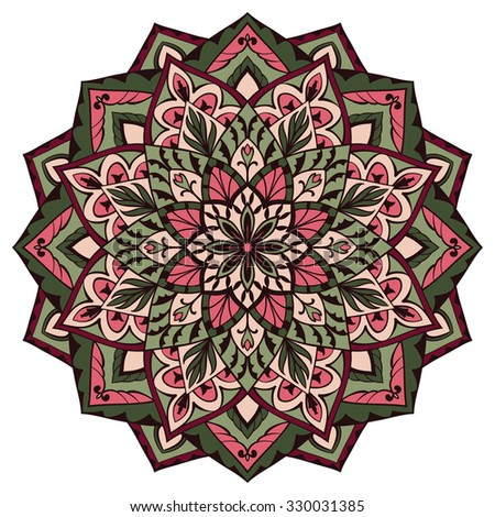 Vector, intricate mandala in green and pink colors on a white background. You can use this pattern in the design of carpet, cushion, textile. Sketch of tattoo. Oriental decorative element. - stock vector