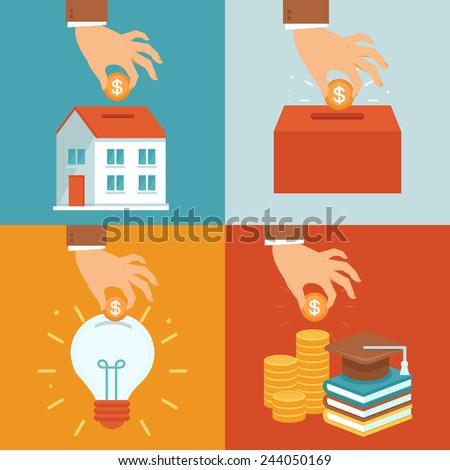 Vector investment concepts in flat style - invest money in education, real estate, start up and charity - stock vector
