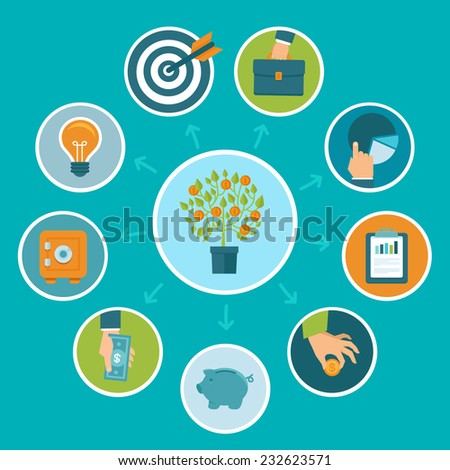 Vector investment infographics in flat style - business and finance concept - stock vector