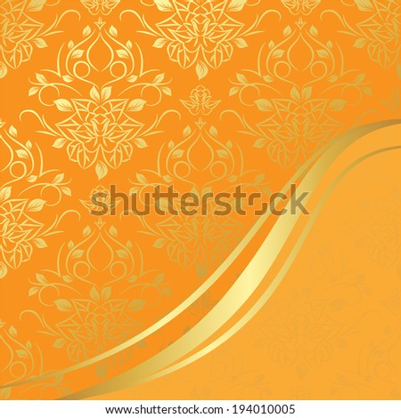 vector invitation card or greeting card with damask pattern and golden design elements. Can use for different life events