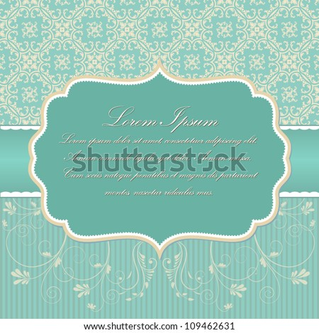 Vector invitation card with damask pattern eps10