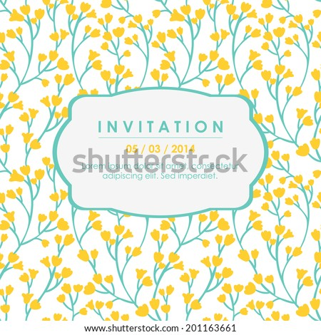 Vector invitation card with floral elements. Invitation template with yellow small flowers on the white background - stock vector