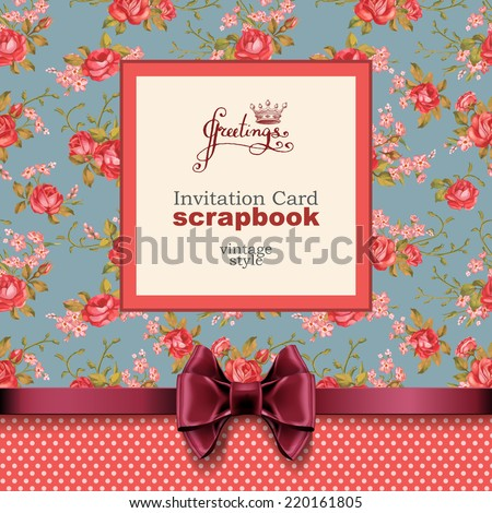 Vector invitation card with floral ornament. Wedding card or invitation with floral background. Greeting card. Elegance pattern with flowers roses, floral illustration in vintage style Valentine.  - stock vector