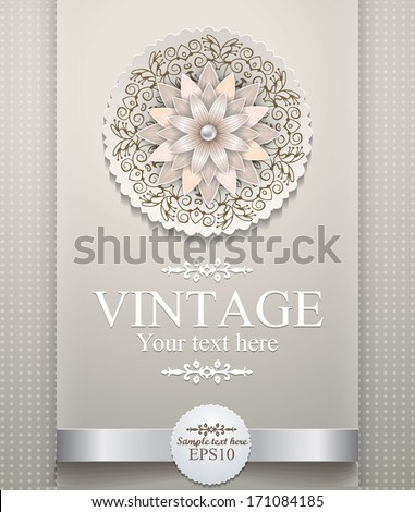 Vector invitation card with ornamental round lace - stock vector