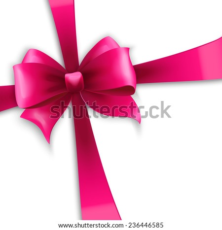 Vector Invitation card with pink holiday ribbon and bow - stock vector