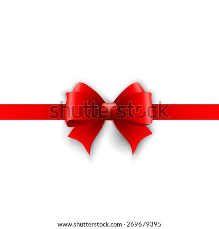 Vector Invitation card with red holiday ribbon and bow isolated on white background - stock vector