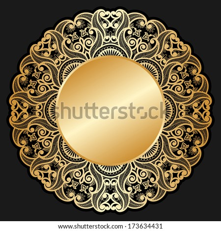 Vector invitation cards with gold circle for text and lace pattern. - stock vector