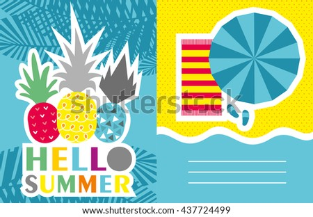 Vector invitation template with funny pineapples, palm leaves.