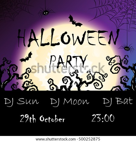 vector invitation to halloween party with moon, bat, trees and place for party information