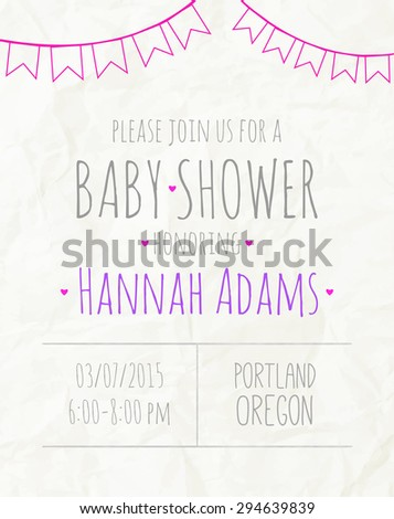 Vector invitation to the baby shower fo a girl with a garland of flags - stock vector