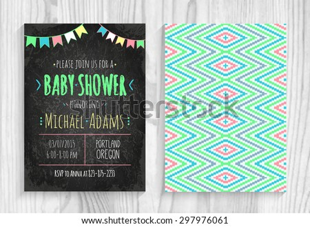 Vector invitation to the Baby Shower with . Ã??halk blackboard with Aztec tribal pattern with a garland of flags. Background with a aztec tribal geometric pattern. Wooden board - stock vector