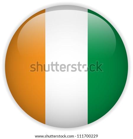 Vector - Ireland Flag Glossy Button - stock vector
