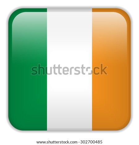Vector - Ireland Flag Smartphone Application Square Buttons - stock vector