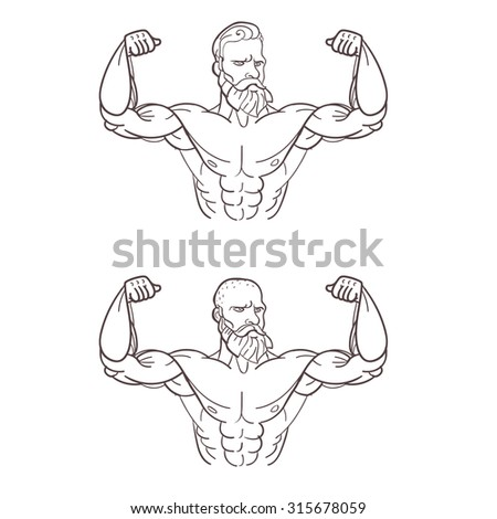Vector iron man or very strong muscle man, illustration for fitness or gym club
