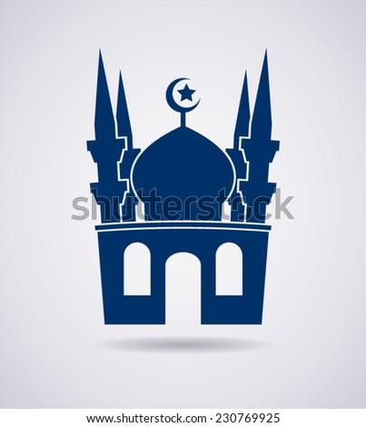 vector islamic mosque icon or symbol - stock vector