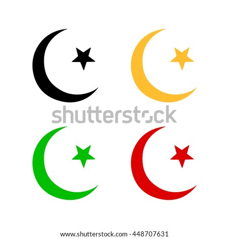 Vector Islamic Sign Isolated Star And Crescent Islam Symbol Eid Mubarak Muslim Holiday