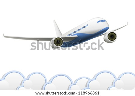 Vector  isolated Aeroplane on white background with clouds - stock vector