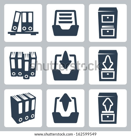 Vector isolated archive icons set - stock vector