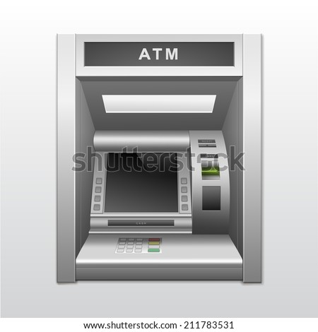 Vector Isolated ATM Bank Cash Machine - stock vector