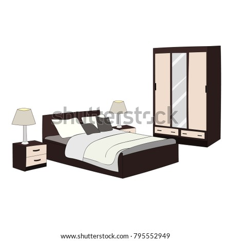 vector, isolated bedroom, bed and wardrobe