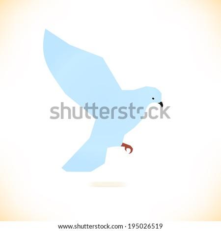 Vector isolated bird. Pigeon, dove. - stock vector