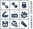 Vector isolated bodybuilding/fitness icons set - stock vector