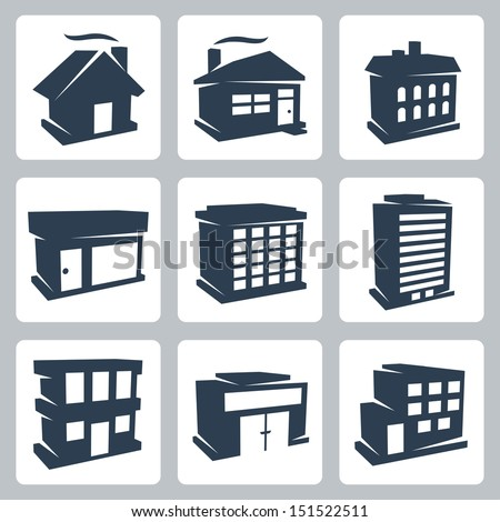 Vector isolated buildings icons set - stock vector
