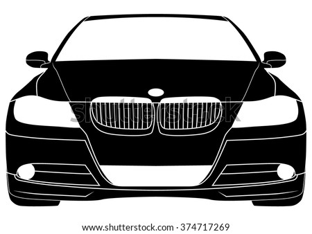 Vector isolated car silhouette - stock vector