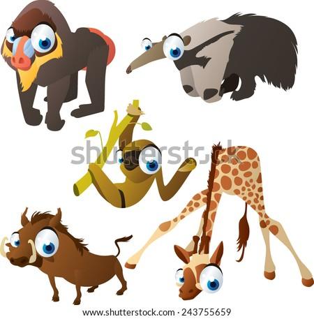 vector isolated cartoon cute animals set: baboon, anteater, sloth, warthog, giraffe - stock vector