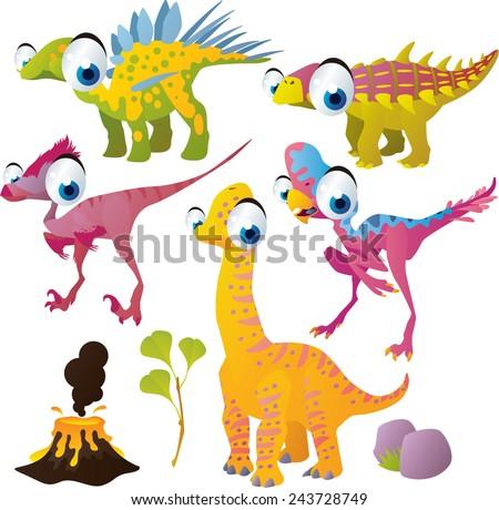 vector isolated cartoon cute animals set: dinosaurs: kentorsaurus, brachiosaurus, oviraptor,  unenlagia, nodosaurus - stock vector