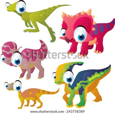 vector isolated cartoon cute animals set: dinosaurs: zuniceratops, lambeosaurus, heterodontosaurus, parasaurolophus, riojasaurus - stock vector
