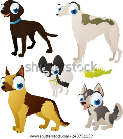 vector isolated cartoon cute animals set: dog breeds: shepherd, borzoi, spitz, labrador, husky - stock vector