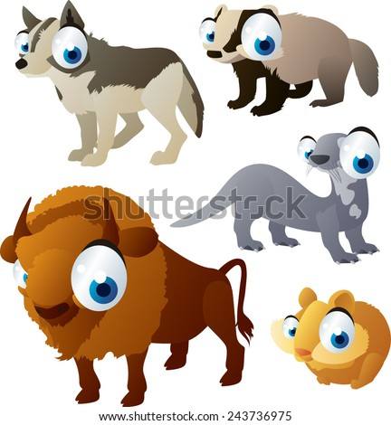 vector isolated cartoon cute animals set: forest: wolf, bison, otter, badger, hamster - stock vector