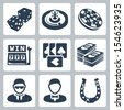 Vector isolated casino and gambling icons set - stock vector