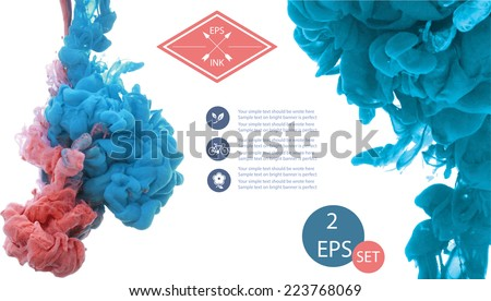 Vector isolated cloud of blue and rose ink swirling in water on white background. Template design. Texture of splashes of paint, ink - stock vector